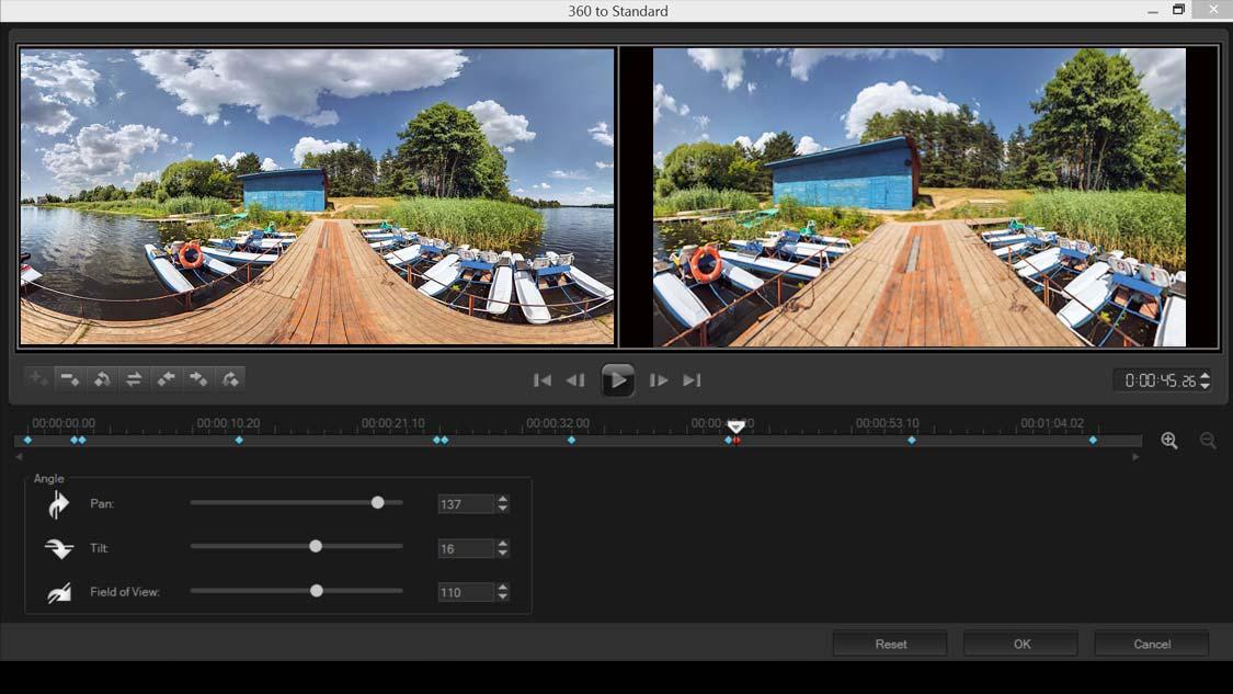 360 videoyu standart videoya dönüştürün